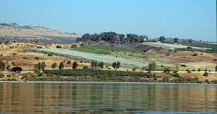 View of Mount of Beatitudes from the Sea of Galilee