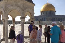 Ezer, center in purple shirt, on the Temple Mount by Holy of Holies on the Temple Mount