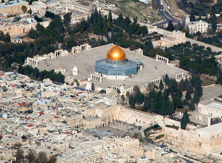 Temple Mount and Western Wall aerial from southwest, tb010703235