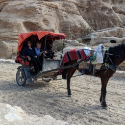 Maria and Irene taking the horse and buggy into Petra