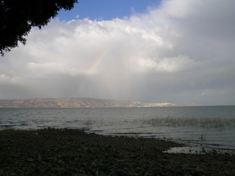 Sea of Galilee storm with rainbow, tb111103790